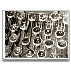 Vintage  #Typewriter Birthday Greeting Post Cards by #gravityx9 #BIRTHDAYCARD