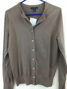 Lands End Women's S 6 8 Sweater Beige Brown Button Cotton Blend Cardigan NWOT #LandsEnd #Cardigan
