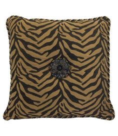 Black And Tan Tiger Tapestry With Medallion Square Throw Pillow 18x18