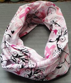 This is a handmade infinity scarf made from Cotton material. It is very soft and comfy.  This beautiful Breast Cancer Awareness infinity scarf