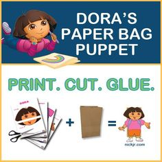 Brown paper bags lying around? Turn them into a Dora puppet!