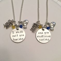 I Shall Call You Squishy and You Shall Be My Squishy Finding Nemo Dory Disney's Pixar Inspired Stamped Charm Necklaces #findingnemo #squishythejellyfish #dory #disney #pixarinspired #handstamped #charmnecklaces