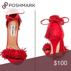 "Steve Madden ""Sassey"" size 7.5 Red suede with fringe around toe. Ties with fringe ends. Gorgeous statement piece. Normal wear shown. Please ask for more photos Steve Madden Shoes Heels"