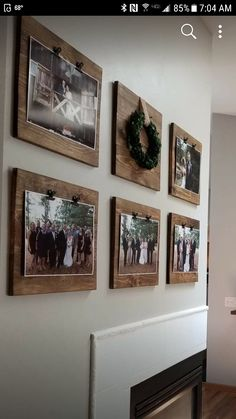 Like this idea for pictures, might want to add a strip of burlap around the wood.