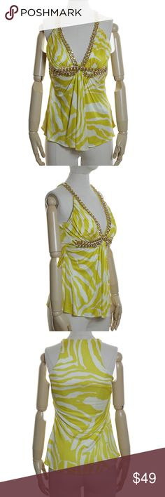 """SKY Brand Gold Chain Jersey Silk Tank Top CONDITION: Excellent Condition.  PRODUCT DETAILS: knit, lined, stretch, heavy gold chain color: yellow, ivory 100% Silk Dry Clean  MEASUREMENTS: Bust-32"""" Shoulder-6t"""" Length-25.5"""" Sky Tops Tank Tops"""