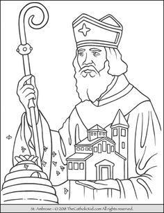 Saint Ambrose Coloring Page St. Ambrose was the Bishop of Milan and Doctor of the Church. Feast Day: December Birth: 340 Death: 397 Patron Saint: Beekeepers, beggars, learners and Milan. Free Printable Coloring Pages, Printable Worksheets, Coloring Pages For Kids, Printables, Catholic Kids, Catholic Saints, Patron Saints, St Ambrose, Advent Activities