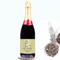 Personalised Christmas Champagne - Cartoon Penguin and Robin