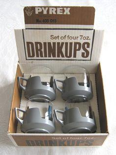 "Pyrex (JAJ) ""Drinkups"" (glass drinking cups with grey plastic handles) x 4, in original box, c.1960s-70s (SOLD) - www.vanishederas.com"