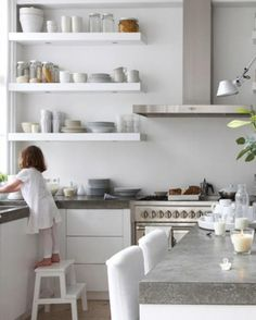 Family LIVE IKEA Kitchen open shelves by stove for Kays kitchen instead of those ugly shelves.IKEA Kitchen open shelves by stove for Kays kitchen instead of those ugly shelves. White Kitchen Cabinets, Kitchen Shelves, Kitchen Countertops, Concrete Countertops, Kitchen White, Upper Cabinets, White Cupboards, Kitchen Storage, Smart Kitchen