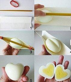 Heart shaped boiled egg