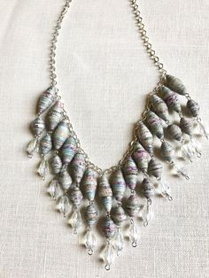 CIJ Bohemian style necklace made with paper beads in shades of gray and transparent Teardrop beads, handmade jewels - €18.00 EUR