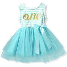"Sweet as Sugar ""One"" Turquoise & White Stripe Girls Sleeveless Tutu Dress"