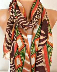 Brown Tones Cotton Scarf Shawl Spring Summer Scarf by fatwoman