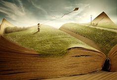Lost in a book. Storybook, processing by Jeannette Woitzik