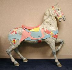 Vintage Authentic Carved Wood MA Carousel Horse | Antique Helper