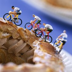 Tasty looking grub & mini cyclist celebrating Paris-Brest!