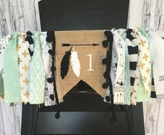 Tribal First Birthday Highchair Banner// MInt and Gold First Birthday Highchair Banner // Aztec Highchair Banner // TeePee Birthday Banner by MKsBowtique on Etsy