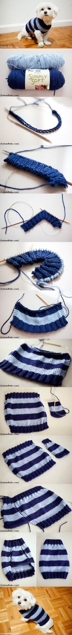 DIY Easy Knitted Dog Sweater 2                                                                                                                                                                                 More #dogsdiyclothes