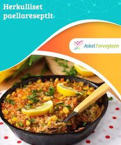 Herkulliset paellareseptit Paella on sekoitus riisiä, vihanneksia, äyriäisiä, kalaa tai punaista lihaa. Se sisältää runsaasti mm. proteiinia, A-vitamiinia ja kivennäisaineita. Diabetic Recipes, Healthy Recipes, Tapas, Mashed Potatoes, Food And Drink, Menu, Soup, Lunch, Cooking