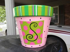 Hand painted flower pot
