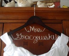 Hanger Mrs on Top,Hanger two lines, personalized Custom Bridal Hanger, Brides Hanger, Name Hanger, Wedding Dress Hanger, Bridal Shower Gift on Etsy, $24.97