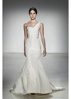 ELEGANT TAFFETA SATIN ONE SHOULDER NECKLINE NATURAL WAISTLINE MERMAID WEDDING DRESS SEXY LADY LACE FORMAL PROM