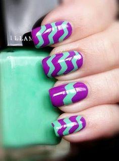 Purple - Mint - Chevron - Nail design