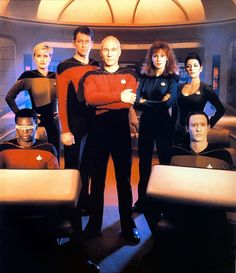 Rare variant season 1 TNG cast photo, absent Wesley and Worf.
