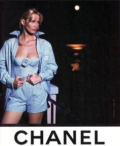1995 Chanel Blue & White Gingham Bustier W/Sequins & Detachable Camellia Pin 4