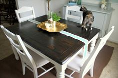 """Here's the breakdown of how I refinished the table. Here it is before, in all of its honey oak glory: I had been looking for a """"farmhouse"""" type table forever, but I knew that I wanted to find a cheap one that I could refinish. I liked the chunky legs and the table top on...Continue Reading"""