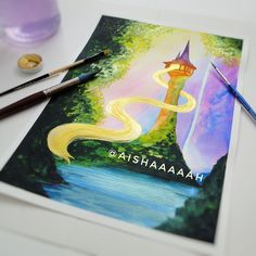 """Aishah on Instagram: """"• another tangled scene inspired painting 💜💛 let me know what you think 💭 swipe for details! __________ • original for sale, 9 x 12 inches,…"""" Let Me Know, Let It Be, Disney Animated Movies, What You Think, Disney Animation, Double Exposure, Faeries, Tangled, Book Art"""