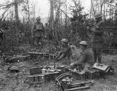 Men of the 62nd Battalion, Machine Gun Corps (62nd Division) with captured German Maxim 08/15 machine guns. Bois de Reims, 24 July 1918.