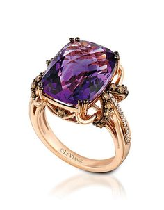 You'll love this rose gold and amethyst ring from Levian. Features a amethyst stone surrounded by brown and white diamonds. - Levian Rose Gold Am… Amethyst And Diamond Ring, Purple Diamond, Amethyst Jewelry, Gems Jewelry, Gemstone Jewelry, Diamond Jewelry, Jewelry Accessories, Diamond Rings, Purple Amethyst