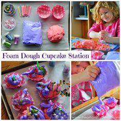 I HEART CRAFTY THINGS: Foam Dough Cupcake Making Station (Invitation to Play)