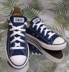 CONVERSE ALL-STAR BLUE CANVAS SNEAKERS LOW CUT FASHION SHOES US KIDS SZ 3 EU 35 #Converse #WalkingShoes