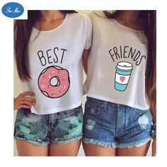 Hot summer printed tops - Book T Shirts - Ideas of Book T Shirts - Summer Women T-shirt Cute T Shirt Donut And Coffee Duo Flowy Print Funny Best Friends Tees Tshirt Couple Tops Blusas Best Friends, Best Friends T Shirt, Best Friend Outfits, Best Friend Goals, Best Friends Forever, Friends Shirts, Funny Friends, Best Friend Clothes, Best Friend Stuff
