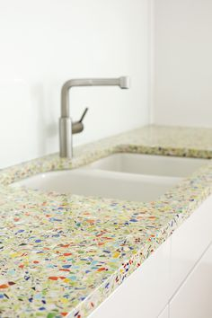 Kitchen Design Idea   5 Unconventional Materials You Can Use For A  Countertop // Recycled Glass    Old Glass Materials, Like Bottles, Windows,  ...