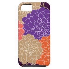 Beautiful Whimsical Orange Purple Floral Print iPhone 5 Case