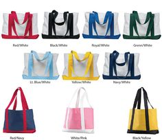 Dual Colored Boat Tote Bags by totebags4lesscom on Etsy