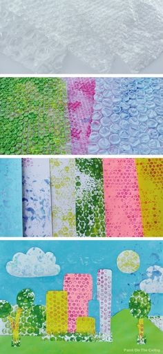 Paint on the Ceiling: Bubble wrap printing & Collage