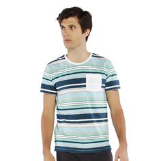 PENSHOPPE Stripes Pattern Tee With Pocket (Green)