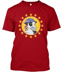 American Cow Deep Red T-Shirt Front