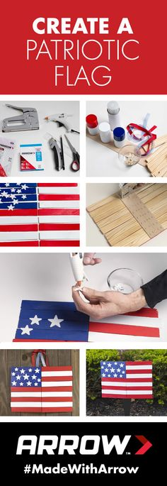 DIY American Flag: Use paint shims, foam stars, paint, Arrow's PowerShot 5700 staple gun and the MT300 mini glue gun to make a patriotic flag for Flag Day and the Fourth of July! Make it a kid's craft activity by enlisting help to paint the flag. Follow Arrow on Pinterest for more great project ideas! www.arrowfastener.com