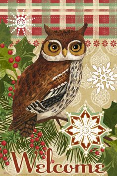 Winter.Owl.Vert.-.05.of.06.-.Jennifer.Brinley Christmas Owls, Woodland Christmas, Vintage Christmas Cards, Christmas Decorations, I Love Winter, Owl Always Love You, Wise Owl, Owl Art, Christmas Printables