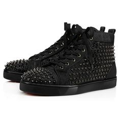 Louis Spikes Orlato Men's Flat - Red Bottom Christian Louboutin Shoes
