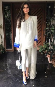 Very pretty! She looks fresh and cool and elegant! The bright blue makes the outfit pop. Very pretty! She looks fresh and cool and elegant! The bright blue makes the outfit pop. Pakistani Fashion Party Wear, Pakistani Dresses Casual, Pakistani Dress Design, Indian Fashion, Casual Dresses, Pakistani Couture, Stylish Dresses For Girls, Stylish Dress Designs, Designs For Dresses