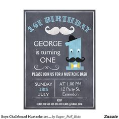 Boys Chalkboard Mustache 1st Birthday Invitation