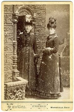 Victorian Cabinet Card, Two Young Women In Faux Snow.