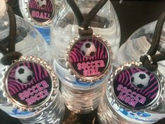 Soccer Party Favors, water bottle charms, can customized with team name and player's numbers added