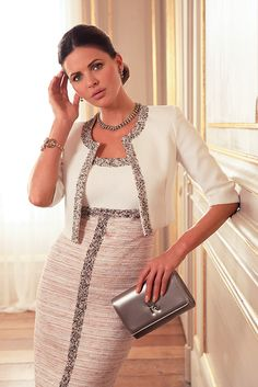 Another of our favourites from Linea Raffaelli. The Linea Raffaelli F16 Set 61 is a Chanel inspired Tweed effect dress in cream and pink is effortlessly chic. The encrusted beadwork sets it off beautifully and the 60's style jacket is perfection. Fabulous for any style conscious mother of the bride or groom.